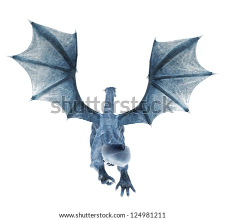 blue dragon flying back - stock photo