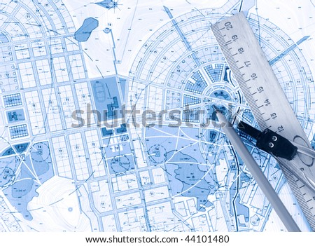 Blue drawing - stock photo