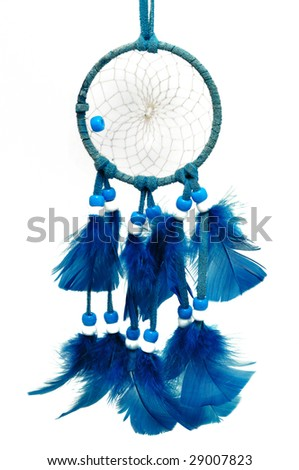 Blue Dreamcatcher with feathers and beads isolated on a white background