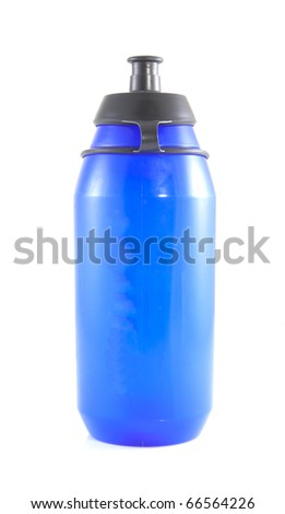 Blue drink bottle on a white background. - stock photo