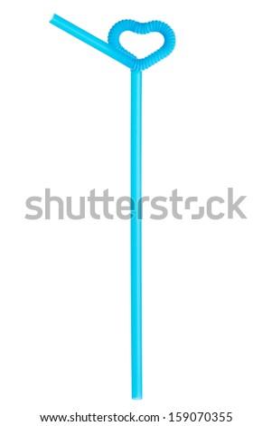 Blue drinking straw - stock photo