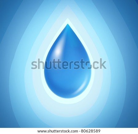 Blue drop on a radial background representing pure clean water. - stock photo
