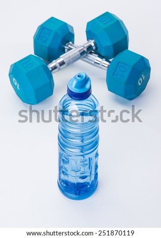 Blue dumb bells and fit exercise tools - stock photo