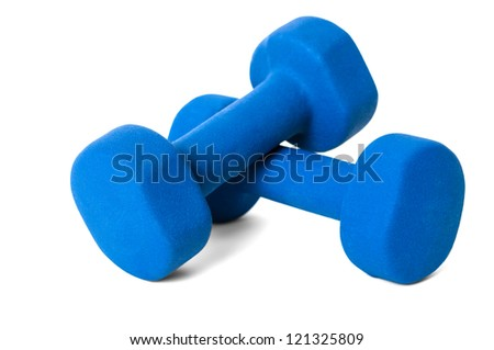 Blue dumbbell weights isolated on white with soft shadow.