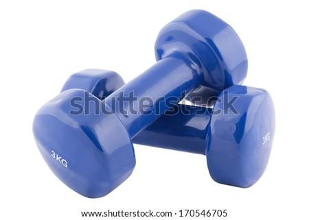 Blue dumbbells isolated  - stock photo