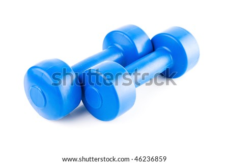 blue dumbbells with shadow isolated on white