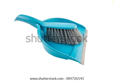 Blue Dust Pan and a brush isolated on White Background by clipping path - stock photo