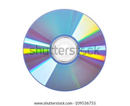 Blue DVD disk isolated - stock photo