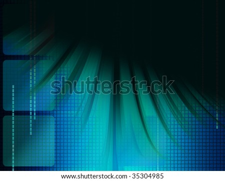 Blue dynamic waves over black background. Abstract illustration