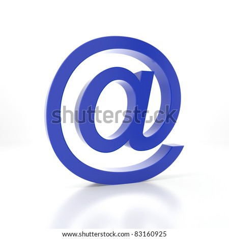 Blue e-mail symbol on a white background - stock photo