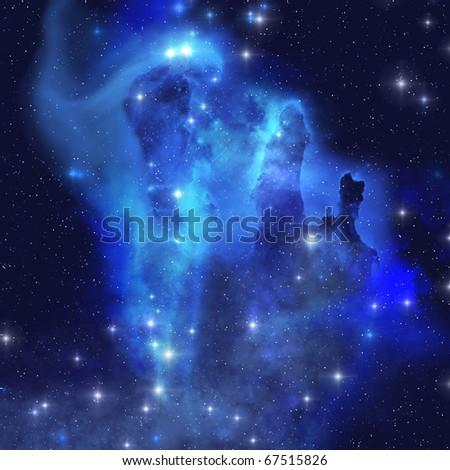 BLUE EAGLE NEBULA - The brilliant blues of this star making nebula shine throughout the cosmos. - stock photo