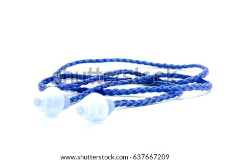 Blue earplugs to reduce noise on a white background.