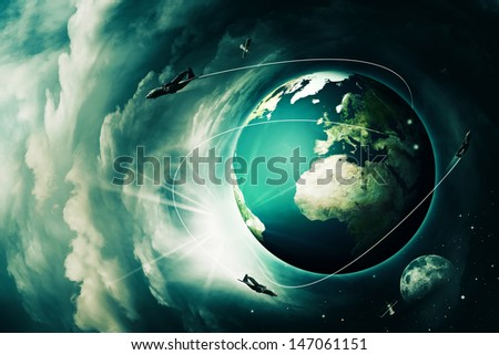 Blue Earth, abstract techno end environmental backgrounds - stock photo