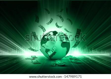 Blue Earth and falling dollar banknotes. Dollar rain - stock photo