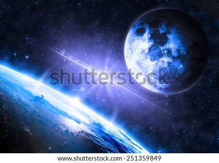 Blue Earth and Moon - Elements of this Image Furnished by NASA - stock photo