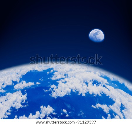 blue earth and moon in space. The earth with mountains and clouds.