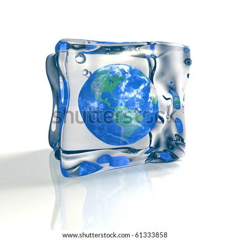 Blue earth globe trapped in ice cube - stock photo