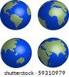 Blue Earth globes set on white background illustration - stock photo