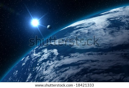 Blue earth, ocean view - with sun moon and starry background.
