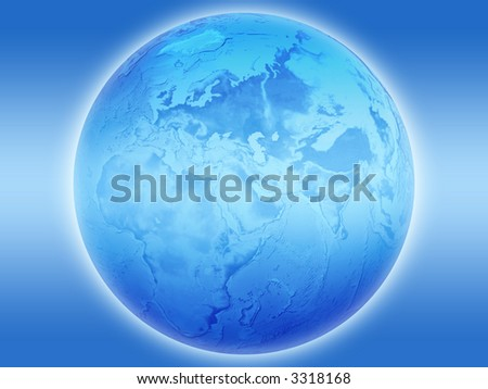 Blue Earth on a blue background - stock photo