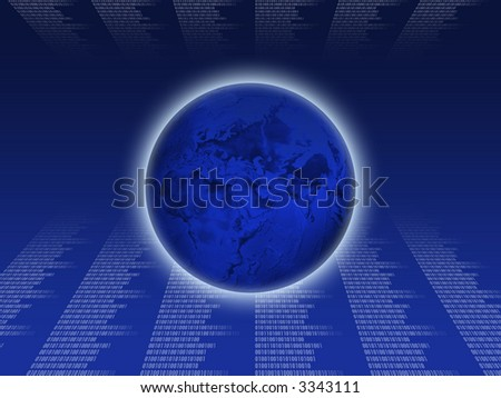 Blue Earth on the code background - stock photo