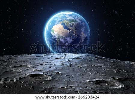 Blue Earth Seen Moon Surface Elements Stock Illustration ...