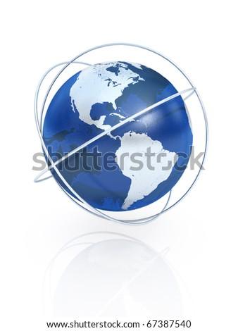 Blue earth  the communication symbol. America. - stock photo