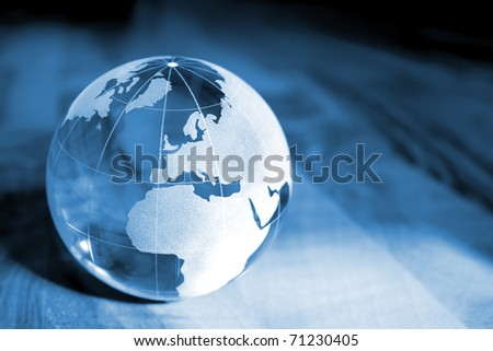 Blue Earth transparent glass - stock photo