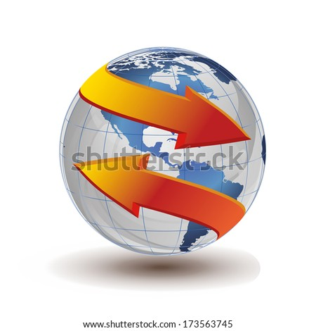blue earth with arrows - stock photo