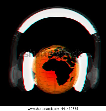 Blue earth with headphones from transparent plastic. World music concept isolated on a black background. 3D illustration. Anaglyph. View with red/cyan glasses to see in 3D. - stock photo