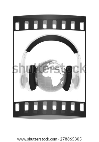 Blue earth with headphones from transparent plastic. World music concept isolated on white. The film strip - stock photo