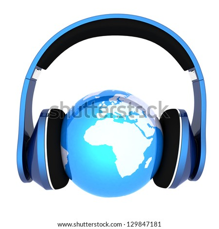 Blue earth with headphones. World music concept isolated on white