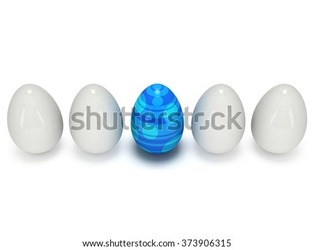 Blue easter egg in a row of the white eggs. 3D render. Easter, out of crowd, business concept