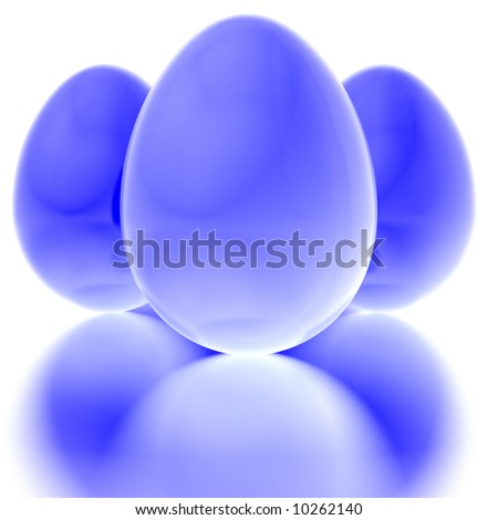 Blue Easter eggs with reflection on a white. Clipping path included for easily isolation