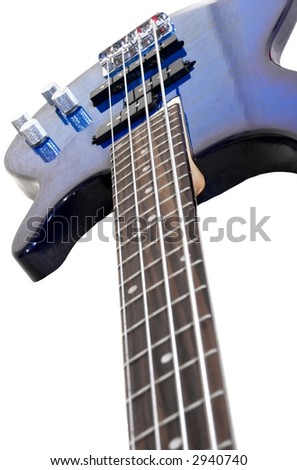 Blue electric bass isolated on white background - stock photo