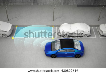 Blue electric car driving into parking lot with parking assist system. 3D rendering image. - stock photo
