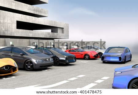 Blue electric car looking for charge point in parking lot. 3D rendering image in original design. - stock photo