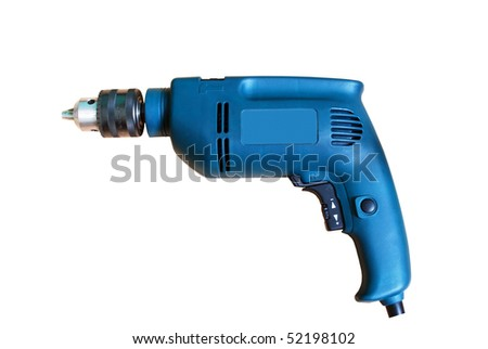 Blue Electric drill isolated on white background, closeup