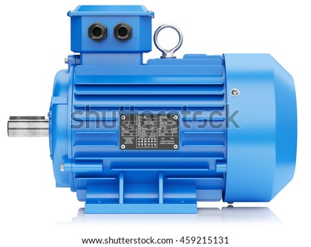 Blue electric engine isolated on white background 3d
