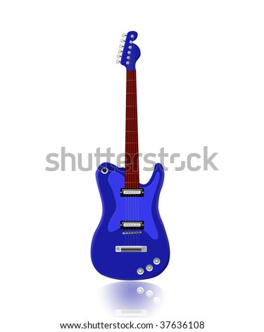blue electric guitar isolated on white