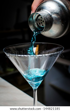 Blue Electric Martini - stock photo