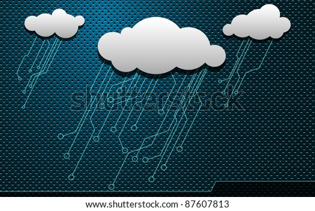 Blue Electric Sky with a Clouds. Abstract Background Easy editable for Your design. - stock photo