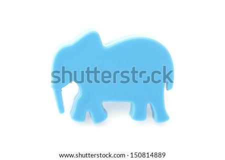 Blue elephant toy isolated on white background - stock photo
