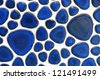Blue Ellipse Mosaic Tiles abstract background on white background. - stock photo