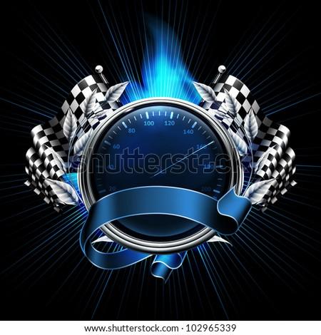 Blue Emblem Races, bitmap copy - stock photo
