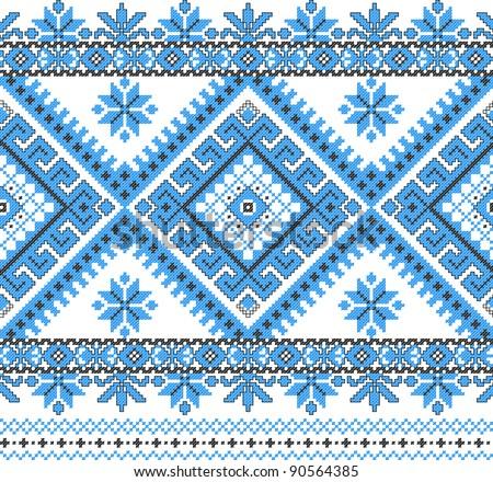 blue embroidered good like handmade cross-stitch ethnic Ukraine pattern. Raster version over 20MPx - stock photo