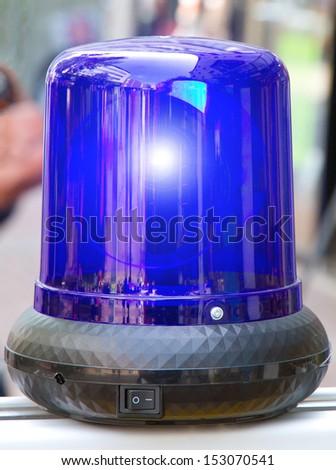 Blue emergency light - stock photo