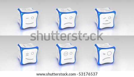 blue emotional 3d cubes set - stock photo