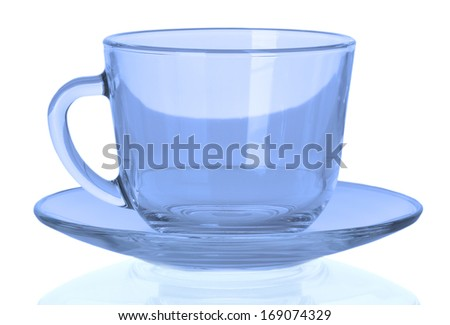 Blue empty cup with a plate on a white background.