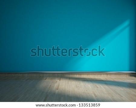 blue empty interior - stock photo